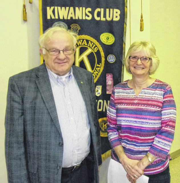 Kiwanian Ron Johnson, Program Chair for the meeting, with guest speaker Mary Conger of American Legion Auxiliary Unit 49.