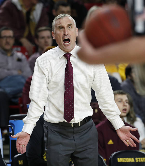 Arizona State head coach Bobby Hurley reacts after getting a technical foul called against him during the second half of an NCAA college basketball game against Washington State, Thursday, Feb. 7, 2019, in Tempe, Ariz. (AP Photo/Matt York)