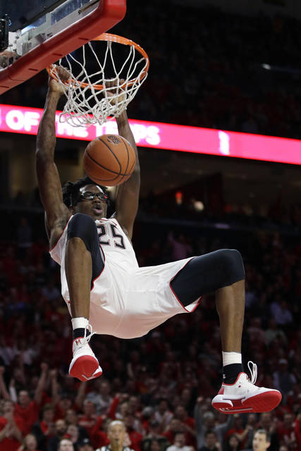 Maryland forward Jalen Smith dunks during the second half of the team's NCAA college basketball game against Purdue, Tuesday, Feb. 12, 2019, in College Park, Md. Maryland won 70-56. (AP Photo/Patrick Semansky)