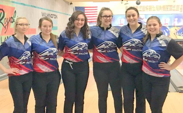 The Clinton-Massie girls bowling team, overall champions of the SBAAC American Division, from left to right, Ashley Gross, Lindsey Amberger, Abbey Faucett, Emily Rager, Jenn Callewaert, Abby Schneider.