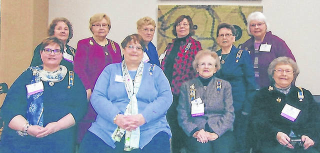 The Indian Trails Chapter of Colonial Dames 17C attended the recent convention. From left are: front, Kim Stackhouse, Leslie Holmes, Pat McKenzie and Mary Ann Vantress and, back, Kay McIntire, Frances Sharp, Nancy Bernard, Susan Henry, Karen McKenzie and Linda Lee.