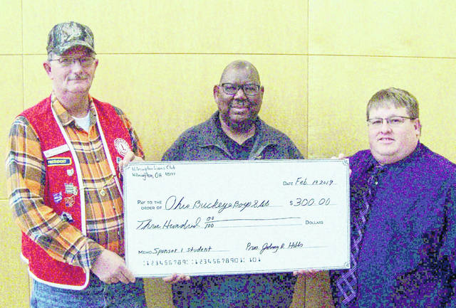 Vermon Dillon was recently presented with a check for $300 from the Wilmington Lions Club, which will be used to sponsor a Wilmington High School junior student's attendance at the 8-day Boys State program this summer at Miami University. The student will be selected by the Wilmington High School guidance counselor. From left are Wilmington Lions President Lion John Hibbs, Ohio Buckeye Boys State Board Member Vermon Dillon and Lions Club Program Director Ryan Page.