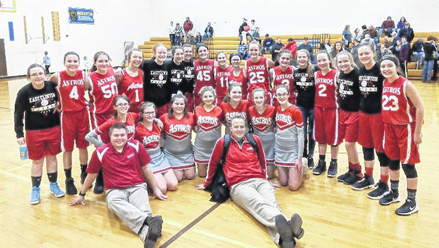 In the photo, from right to left, are East Clinton seventh and eighth grade team members, cheerleaders and coach, front row, right to left, coach Todd Runyon and coach David Boris; middle row, cheerleaders right to left, Madison Johnson, Trinity Bain, Savannah Tolle, Autumn Smith, Lileigh Pauley, Emmy Chambliss, McKenzie DeBord; back row, right to left, Jordan Collom 7th, Jayden Murphy 8th, Lauren Stonewall 8th, Megan Hadley 7th, Megan Tong 8th, Ashlyn Tate 7th, Lauren Runyon 7th, Miranda Beener 8th, Abby Reynolds 7th, Lilly Hoskins 7th, Kami Whiteaker 8th, Libby Evanshine 8th, Jozie Jones 8th, Haley Purdue 8th, Madison Frazer 7th, Jade Campbell 7th, Lindsay Clutter 8th.