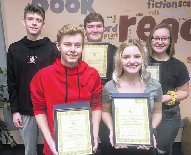 Congratulations to the following Wilmington High School students for making the high scores in their grades on the Americanism and Government Test sponsored by American Legion Post 49. From left are: back, Brady Vilvens (10th Grade Male, score of 58); Tyler Ford (score of 60, 12th Grade Male); and Regan Sparks (score of 54, 10th Grade Female); and, front, Brayden Rhoads (11th Grade Male and Highest Scorer Male Overall with a 70) and Sophia Blessing (11th Grade Female and Highest Scorer Overall of 76).
