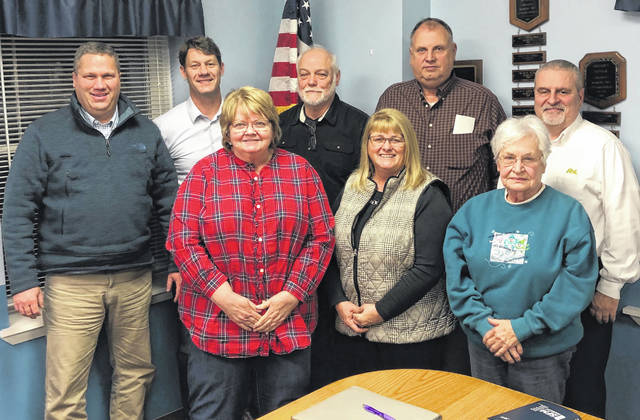 Clinton County commissioners held a joint meeting this month with Marion Township trustees. From left in the front row are Commissioners Clerk Diana Groves, Clinton County Commissioners President Brenda Woods, and Marion Township Fiscal Officer Jean Richards; and from left in the back row are Clinton County Commissioners Mike McCarty and Kerry Steed, and Marion Township Trustees George Cook, Gary Moore and Greg Hefner.