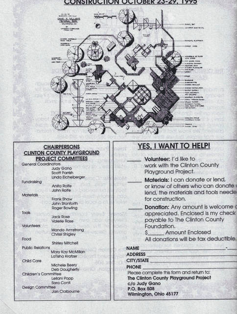 An original flyer seeking construction volunteers for the original wooden playground in 1995.