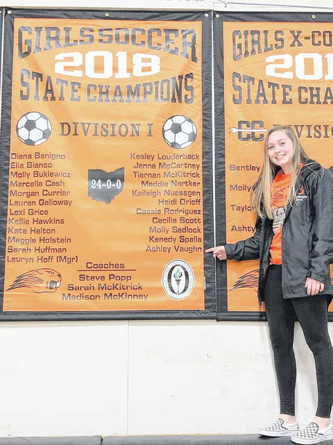 Ashley Vaughn, a freshman at Beavercreek High School and daughter of 1991 Wilmington High School graduate Andy Vaughn, was a starting member of Beavercreek High School's Division I state championship girls soccer team this past fall. Vaughn was a holding-midfielder on the BHS squad that went 24-0 this season and allowed only two goals. The team has been invited to the State Capitol Wednesday to be honored by the House of Representatives. The team has received its championship rings. Vaughn was given special mention on the Greater Western Ohio Conference National Division soccer team.