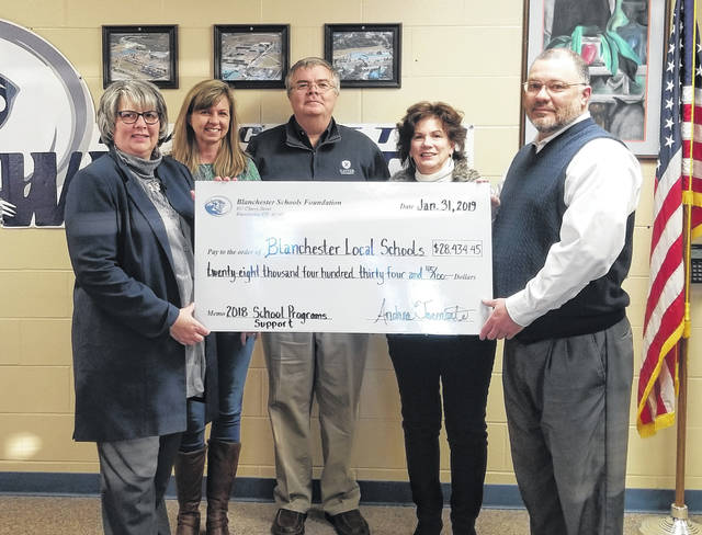 From left are Blanchester Local Schools Foundation board officers: Andrea Kratzer Tarcoronte, treasurer; Kris Johnson Gundler, secretary; Tony Long, president; Ellen Binkley-Hill, vice president; and Dean Lynch, superintendent.