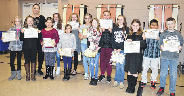 East End Elementary School's Fifth-Grade Student Council includes, from left, Meiley Black, Ally Oeder, advisor Diana Camp, Espi Espinel, Rylee Long, Cassidy Patton, Mia Hollingsworth, Brealyn Jackson, Sara Weller, Chloe Hartman, Abi Earley, Sairee St. John, Maddox Engram, and Eli Rose. For the names of members not present for the photo, please see the article below.