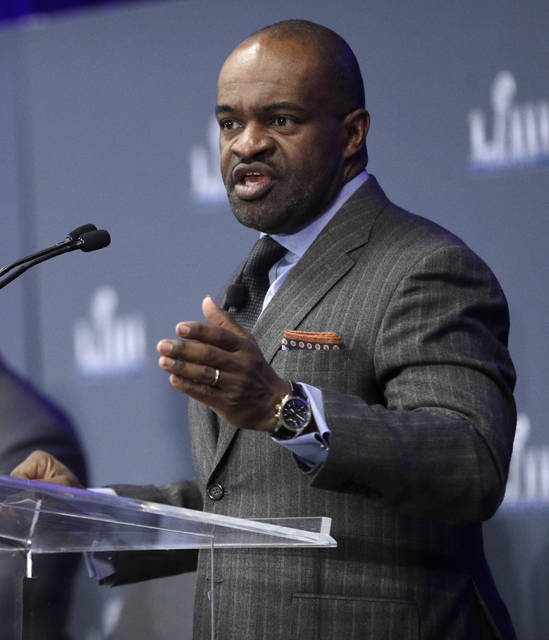 FILE - In this Jan. 31, 2019, file photo, NFL Players Association Executive Director DeMaurice Smith speaks during a news conference at the media center for the NFL Super Bowl 53 football game, in Atlanta. For the last quarter-century, the league has had a two-tiered system when it came to pensions, paying out significantly bigger amounts to more recent retirees than the players who retired before 1993 and made considerably less money in the pre-free agency days. DeMaurice Smith said improved pensions would be a priority in upcoming labor negotiations.(AP Photo/David J. Phillip, File)