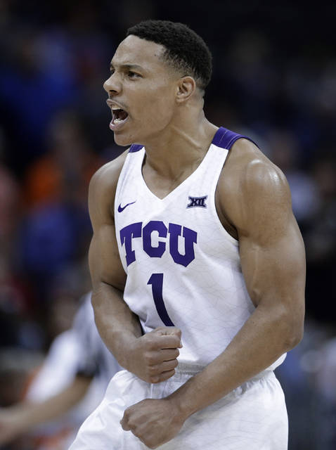 TCU's Desmond Bane celebrates after making a 3-point shot during the second half of the team's NCAA college basketball game against Oklahoma State in the Big 12 men's tournament Wednesday, March 13, 2019, in Kansas City, Mo. against TCU won 73-70. (AP Photo/Charlie Riedel)