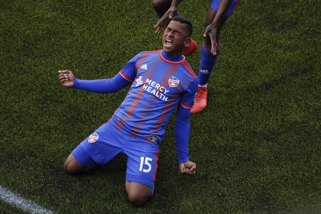 FC Cincinnati midfielder Allan Cruz (15) celebrates after scoring a goal in the second half of an MLS soccer match against the Portland Timbers, Sunday, March 17, 2019, in Cincinnati. (AP Photo/John Minchillo)