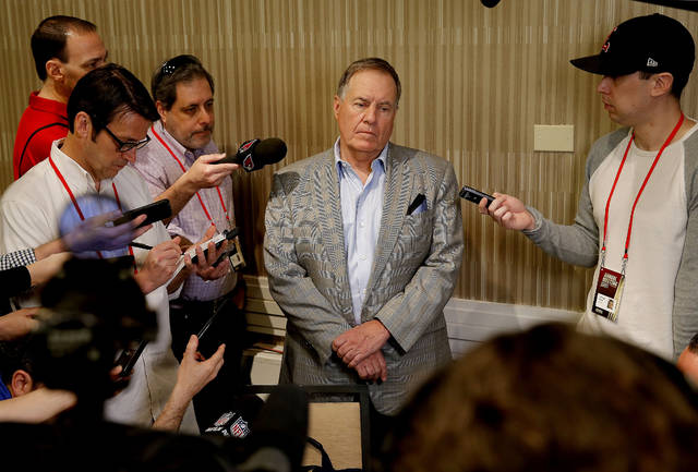New England Patriots head coach Bill Belichick speaks to the media during the NFC/AFC coaches breakfast during the annual NFL football owners meetings, Tuesday, March 26, 2019, in Phoenix. (AP Photo/Matt York)