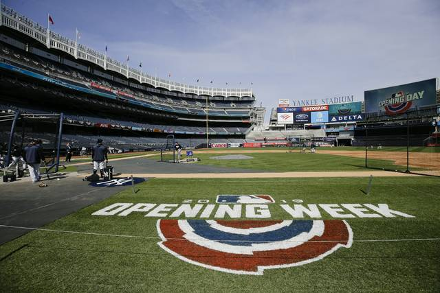 New York Yankees players take part in batting practice during a workout Wednesday, March 27, 2019, in New York. The Yankees host the Baltimore Orioles on opening day Thursday. (AP Photo/Frank Franklin II)