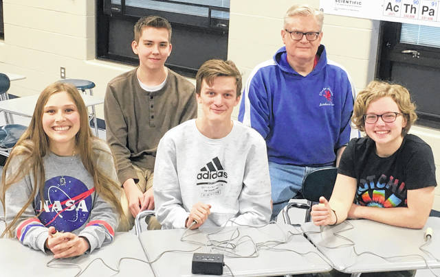 The Clinton-Massie academic team, from left to right, front row, Amelia Binau, Jalen Richardson, Abby George; back row, John Gehringer, coach Gil Farr.