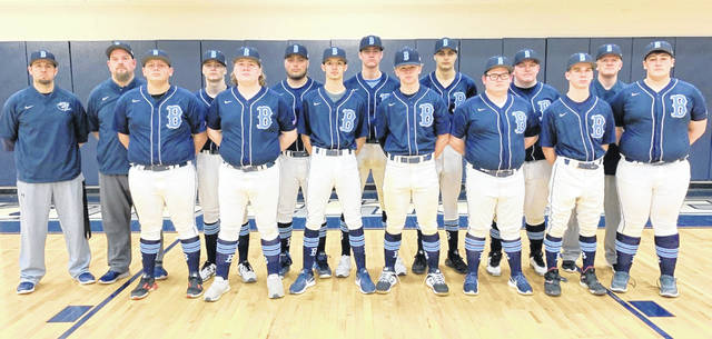 The Blanchester High School baseball team, from left to right, front row, Mason Rector, Peyton West, Trenton Czaika, Cole Ficke, Clayton Boyd, Reagan Burch, Orin Potts; back row, coach Aaron Lawson, coach Kevin Brown, Hayden Tedrick, Dustin Howard, Brody Rice, Jacksson Waialae, Kaleb Goodin, coach Alan Ledford. Coach Bradon Pyle was not present for the photo.