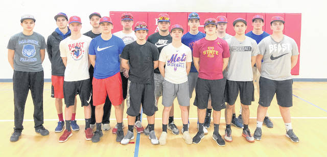 The Clinton-Massie baseball team, from left to right, front row, Clint Stotts, Cayden Clutter, Tyler Lewis, Dakota Gasaway,  Nolan Pringnitz, Seth Goodall, Gavin Gragg; back row, Kody Zantene, Corey May, Josh Merkle, Bryan Kennedy, Spencer Branham, Nate Wildermuth, Dom Kerns, Luke Chappie.