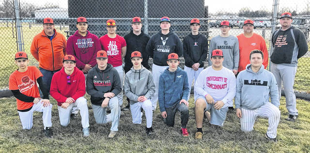 The Wilmington High School baseball team, from left to right, front row, Matt Spears, Ben McAllister, Joey Bush, Ethan Henson, Jeff Spears, Brock Rappach, Jordan Tackett; back, row, assistant coach Gary Andrews, Tramail Hollins, Jake Vaughan, Jordan Macik, Grant Pickard, Cainen Rosenwirth, Alex Meyer, head coach Brian Roberts, assistant coach Phil Gilmore.