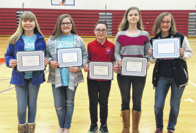 OMEA District 13 Middle School Honor Choir includes, from left, Clinton-Massie students Sydney Hudson, Brylie Green, Jacob Harrison, Naomi Turner and Amerie Riehle. Not shown are Zander Avery, Adyson Johnson, Addie Gibson and Harley King.