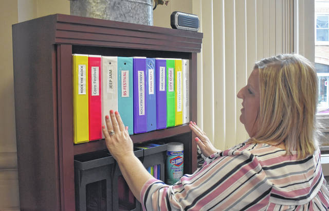 Susan Valentine-Scott looks over the work folders for the festivals in Clinton County this summer including the musical acts coming.