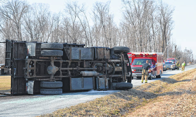 The driver of a dump truck containing mulch appeared to have escaped serious injury when the truck overturned onto its side on Anderson Road late Monday morning. The Chester Township Fire Department, Clinton County Sheriff's Office and Ohio State Highway Patrol responded to the accident.