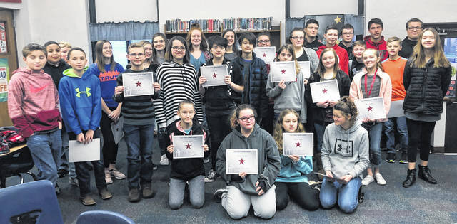 "The ECMS Astro Achiever award is given to students by their teachers to reward them for being responsible, respectful and safe. This award is a ""good citizenship"" award letting students know we see them being kind to their peers, working hard in class and being respectful to others. Congratulations to our February Astro Achiever Winners. Students nominated were: Abigail Reynolds, Mason Miller, Isaiah Conger, Jozie Jones, Katlyn Spence, Jacob Cubbage, Demetri Binegar, Zoe Gilliland, Robert Harner, Stephanie Lambert, Katie Hall, Lorelei Schrimper, Karsyn Sole, Payton Spurlock, Haydyn Haines, Kaylee Hiles, Elyon Hackmann, Isaiah Rowe, Sydney Bosier, Danyelle Elzey, Kami Whiteaker, Kyle Roth, Madison Frazer, Brooklynn Hamilton, Kale Boeckmann, Katie Scott, Georgie Looper, Ellie Fraley, Dylan Day, Ethan Kessler, Lacey Evans, Clayton Kimmey, Savannah Tolle, Jordan Collom, Nikolas Gates, Ashlyn Tate, Barrett Beam, Baylie Simpson, Shelby Prater and Alex Stroud."