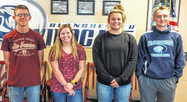 Shown are Blanchester FFA Grain Merchandising team members after qualifying for state finals — Matt O'Niell, Sally Schafer, Reagan Ostermier and Jacob Miller.