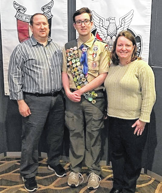 Ryan E. Miller, Troop 155, earns Eagle Scout Award Ryan E. Miller of Troop 155 was recognized for earning his Eagle Scout Award, Scouting's highest rank, at Tecumseh Council Eagle Scout Recognition Banquet on Feb. 24. The annual banquet at the Soin Medical Center, Beavercreek, honors all scouts each year who achieve the Eagle Scout Award within Tecumseh Council, which consists of Champaign, Logan, Clark, Greene and Clinton counties. There were 65 members in the Eagle Scout Class of 2018 who each earned 21 merit badges, 12 of which are required for this rank, completed an approved service project, and passed a board of review. Ryan is the son of Loran and Penny Miller (pictured) who have been Cub Scout leaders in Pack 155 for many years.
