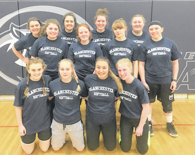 The Blanchester High School softball team, from left to right, front row, Savanna Shank, Lana Roy, Noelani Tangonan, Rianna Mueller; middle row, Kelsey Naylor, Maggie Caldwell, Elecia Patton, Kassidy Abney; back row, Marissa Jacobs, Madison Creager, Zoie Stanforth, Chloe Stewart.
