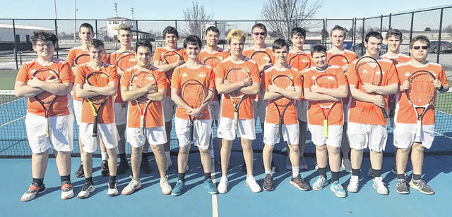 The Wilmington High School tennis team, from left to right, front row, Noah Sweetman, Brayden Rhoads, Brady Henry, Jack Romer, Parker Henry, Jacob Romer, Ian Dalton, Isaac Martini, Collin Webber; back row, Marko Anicic, Sam Jacobyansky, Caleb Reed, Nigel Banks, Jonathan Fender, Avery Bradshaw, Blake Rhodehamel, Mason McIntosh.