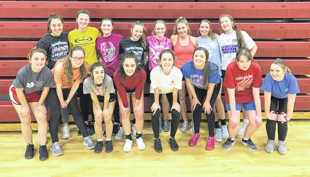The Clinton-Massie girls track and field team, from left to right, front row, Holly Wilson, Elisa Mueller, Ally Wellman, Mileigh Marshall, Molly Lynch, Holly Young, Olivia Thesken, Lakota Hart; back row, Carly Moritz, Kaylynn Woolverton, Courtney Fisher, Nora Voisey, AJ Houseman, Emma Muterspaw, Kenley Robinson, Ashley Doyle.