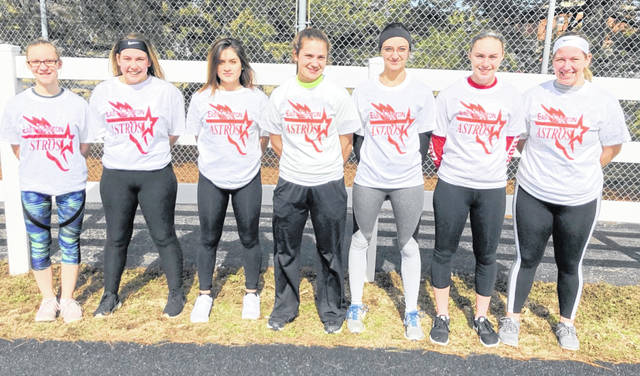 East Clinton High School girls track and field participants Braylynn Malone, Madison Cox, Aurora Lopez, Emma Malone, Brittney Wheeler, Mackenzie Campbell, Rhylee Luttrell.