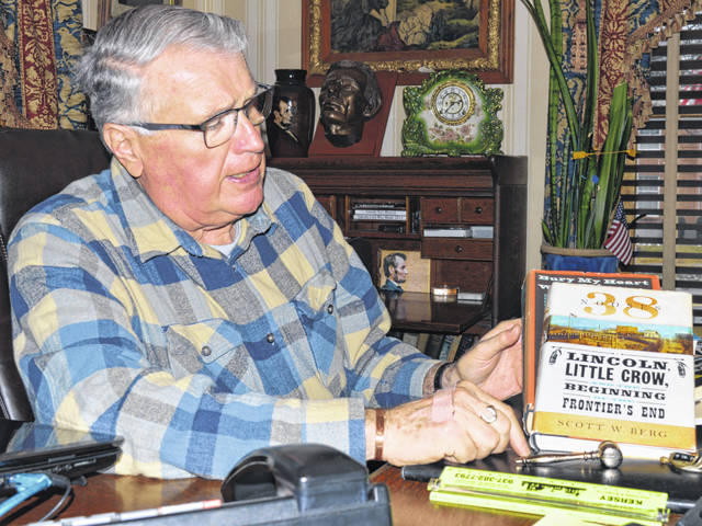 "Just one part of his extensive collection of Lincoln items and books, Clinton County resident Gary Kersey holds a 2012 book by Scott W. Berg bearing the title ""38 Nooses: Lincoln, Little Crow, and the Beginning of the Frontier's End""."