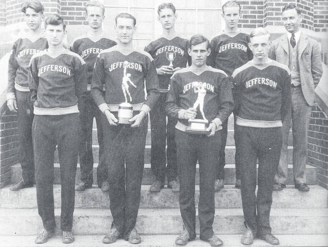 The 1929-30 Jefferson Township High School team that advanced to the state tournament. From left are: front, Walter Nichols, Bob Jacoby, Roy King and Jon Savage; and, back, Jim Smithson, Richard Baker, Henry Taylor, John Rankin and Coach Carl Boring.