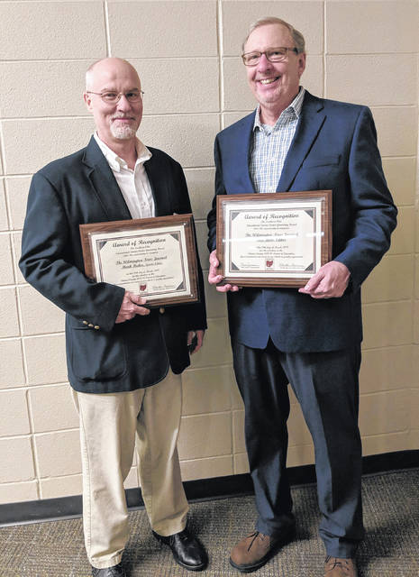 Two Clinton Countians were honored with Friends of Education awards — from left, News Journal Sports Editor Mark Huber and News Journal Editor Tom Barr.