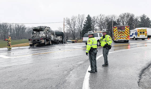 Many first responders were on the scene Monday at a fatal traffic crash at the US Route 62/State Route 753 intersection. One man was killed and two local residents were critically injured, according to Fayette County Sheriff Vernon Stanforth.