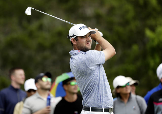 Corey Conners watches his drive on the third hole during the final round of the Texas Open golf tournament, Sunday, April 7, 2019, in San Antonio. (AP Photo/Eric Gay)