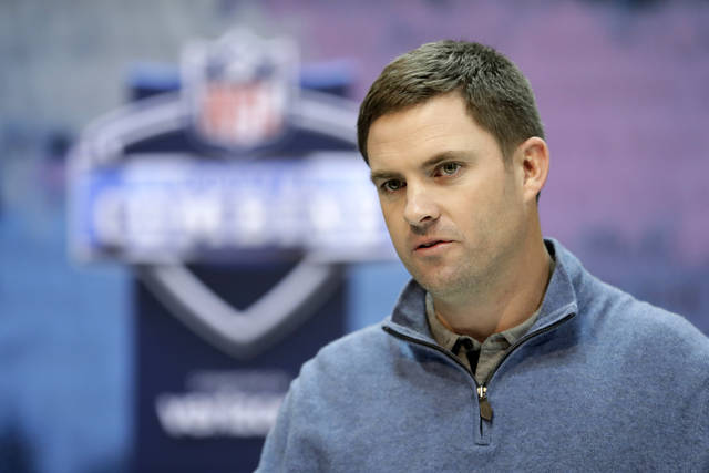 FILE - In this Feb. 27, 2019, file photo, Cincinnati Bengals head coach Zac Taylor speaks during a press conference at the NFL football scouting combine in Indianapolis. A third straight losing season prompted the Bengals to finally end coach Marvin Lewis' run at 16 seasons without a playoff victory. Zac Taylor and a youthful coaching staff were brought aboard and handed a team closely resembling the one that finished at the bottom of the AFC North last season.  The draft will be an important chance to fill some big holes overall, and maybe even pull a big surprise in the first round when the Bengals pick No. 11 overall. (AP Photo/Darron Cummings, File)