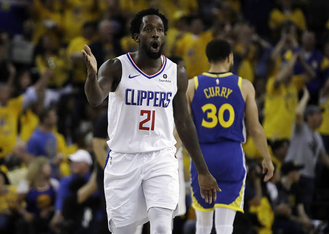 Los Angeles Clippers' Patrick Beverley (21) reacts to a call by referees during the second half in Game 5 of a first-round NBA basketball playoff series against the Golden State Warriors, Wednesday, April 24, 2019, in Oakland, Calif. (AP Photo/Ben Margot)