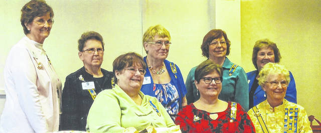 Shown are: seated, Leslie Holmes, Chaplain; Kim Stackhouse, President; Sharon Hendershot, Honorary Ohio State President; standing, Bonny Kanyuk, Librarian; Karen McKenzie, Treasurer; Nancy Bernard, Corresponding Secretary; Susan Henry, Recording Secretary; and Kay McIntire, Vice President.