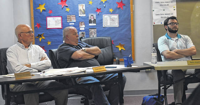 From left, council members Richard Simpson, Chad Hollon and Reilly Hopkins insist on having a discussion on how to help the streets department at Thursday's village council meeting.