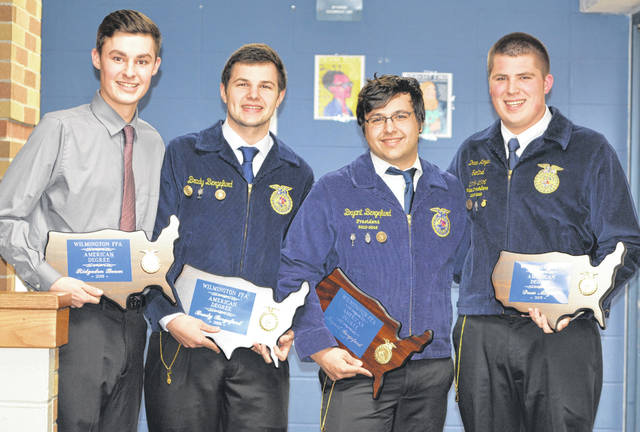 From left are Wilmington FFA members Ridgedon Beam, Brady Bergefurd, Bryant Bergefurd and and Andrew Moyer.