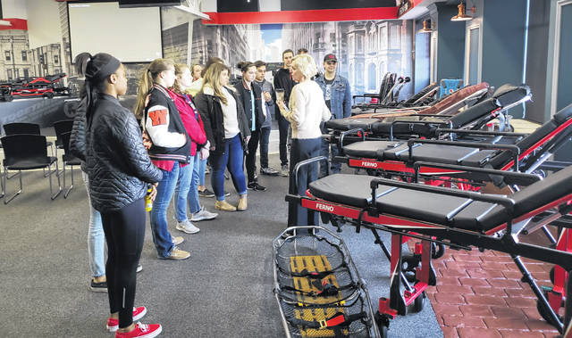 WHS students tour Ferno, which designs and manufactures emergency equipment.