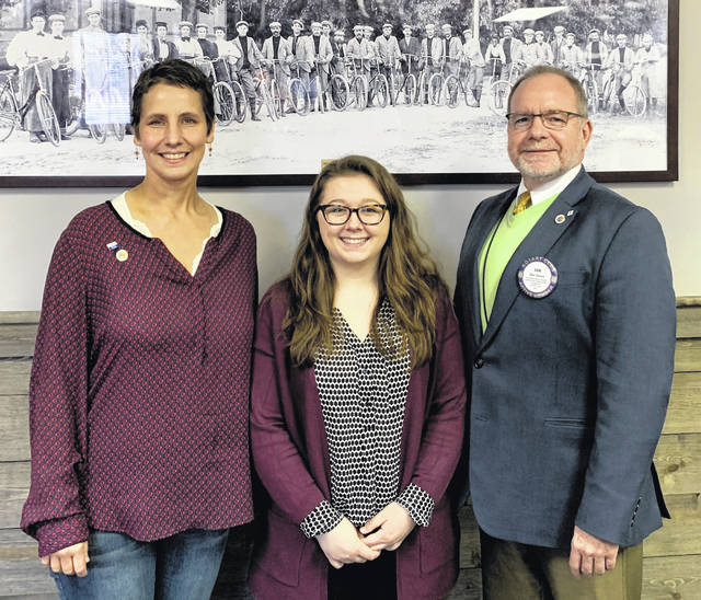 Shelby Boatman, the new Executive Director of the Clinton County History Center, reported to the Rotary Club that the Center is happy to be partnering with the Honor Flight Reunion. Also, the Center is now open on Saturdays from 10-2. From left are Rotarian Kathryn Harrison Tiger, Shelby Boatman, and Wilmington Rotary President Dan Evers.