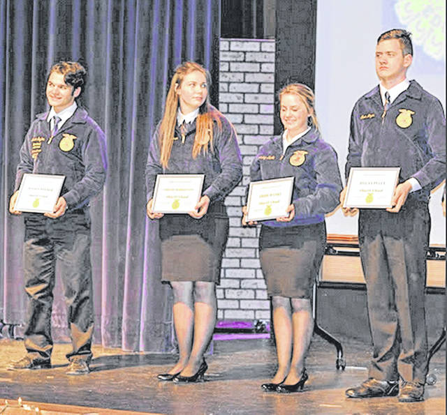 From left, Mason Snyder, Shelby Robertson, Abbie Danku and Dylan Piatt will be representing Wilmington FFA at State Convention. For more on the Wilmington FFA chapter's recent awards event, see tomorrow's News Journal.