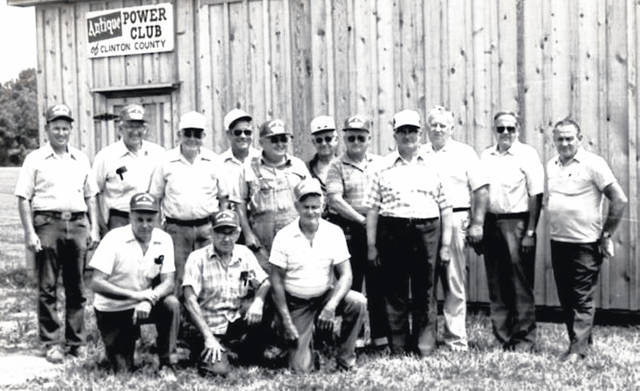 Members of the Antique Power Club of Clinton County are in this photo taken in June 1986. They are identified on the photo as, from left, kneeling, Maynard Peterson, Calvin Cochran and President Vaughn Reynolds; standing, Jim Brown, Waldo McCoy, Doc Ehlerding, Orville Fields, Warren Murphy, Ralph Nie, Charles Murphy, and board members Floyd Jackson, Marvin Peterson, Daryl Prickett and Bruce Taylor. The photo is courtesy of the Clinton County Historical Society. The Clinton County History Center is now open Saturdays 10 a.m.-2 p.m. For more info, visit www.clintoncountyhistory.org; follow them on Facebook @ClintonCountyHistory; or call 937-382-4684.