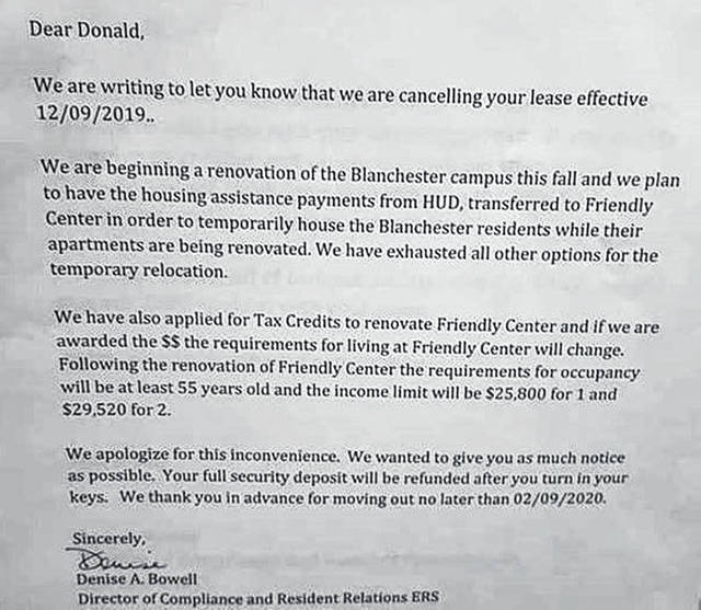 This letter was shared by a Friendly Center Apartments tenant.