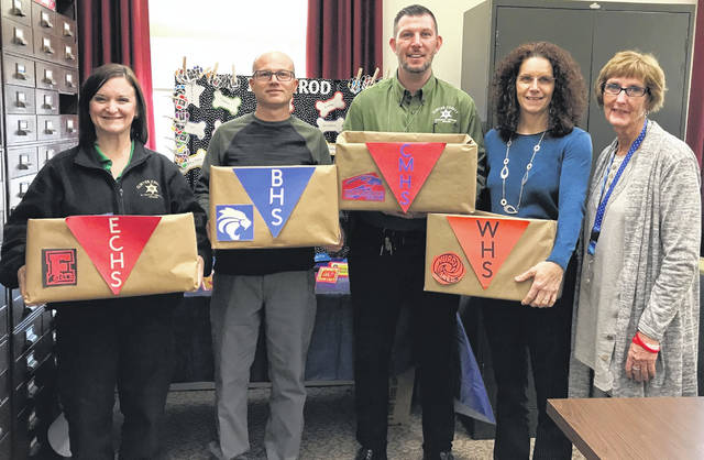 From left are staff with the Clinton County Juvenile Probation Department: Rachel Young, Chad Mason, Adam Green, Deanne Whalen and Margie Eads.
