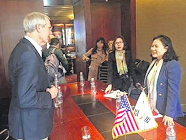 Sen. Rob Portman met with troops at the DMZ and also talked trade with representatives of South Korea.