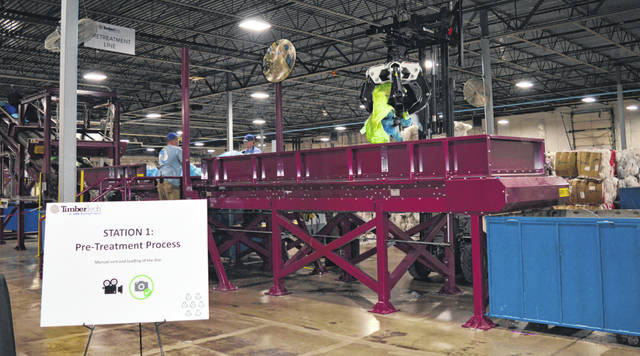 As the sign in the left foreground states, this is the pre-treatment phase of the recycling process where there is manual sort and loading of the line.